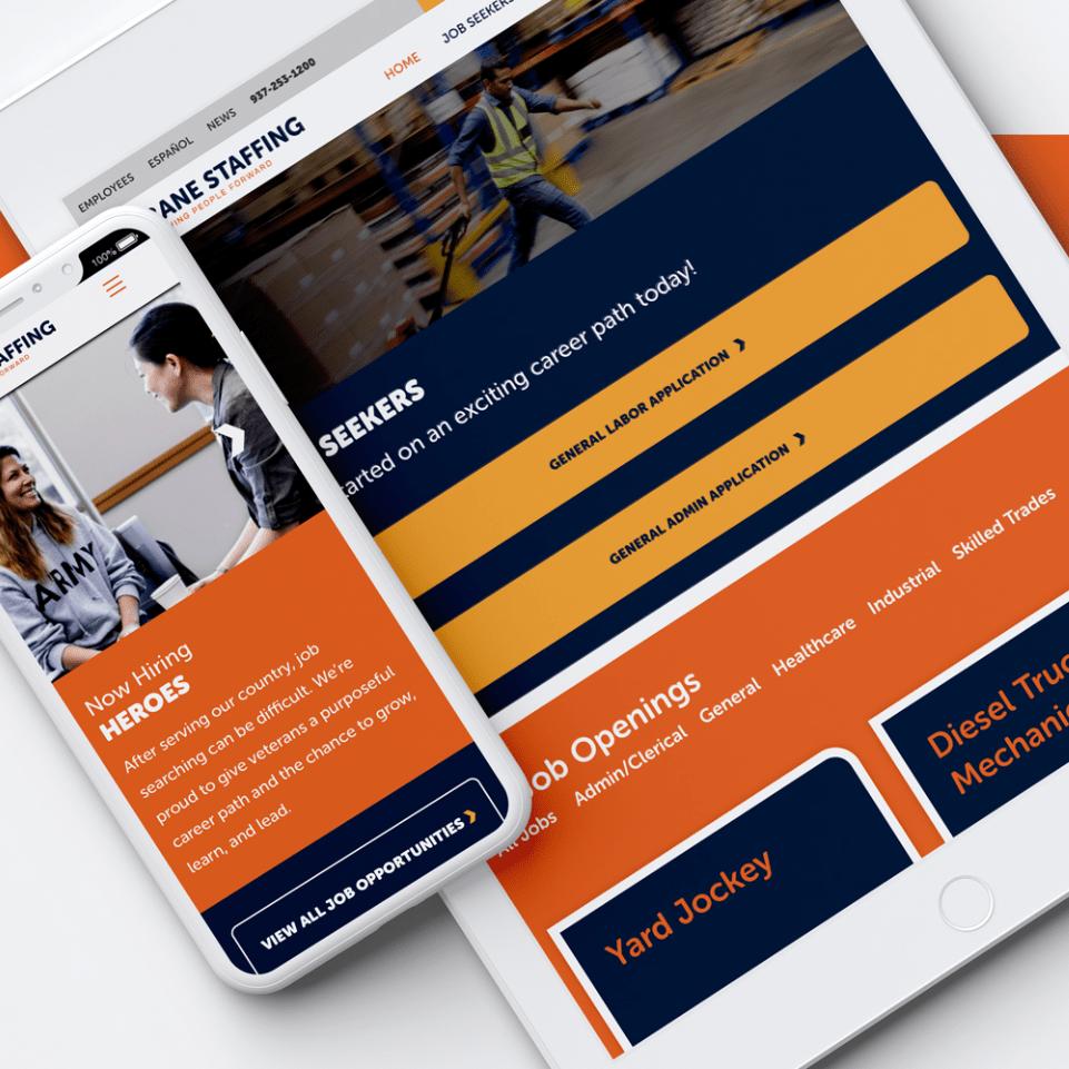 Bane Staffing Tablet and Mobile website
