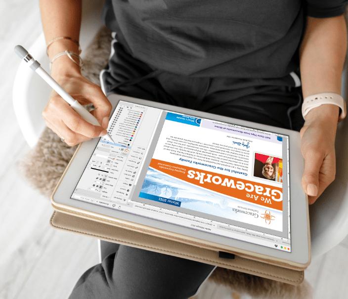 Ohlmann Group artist designs on a tablet