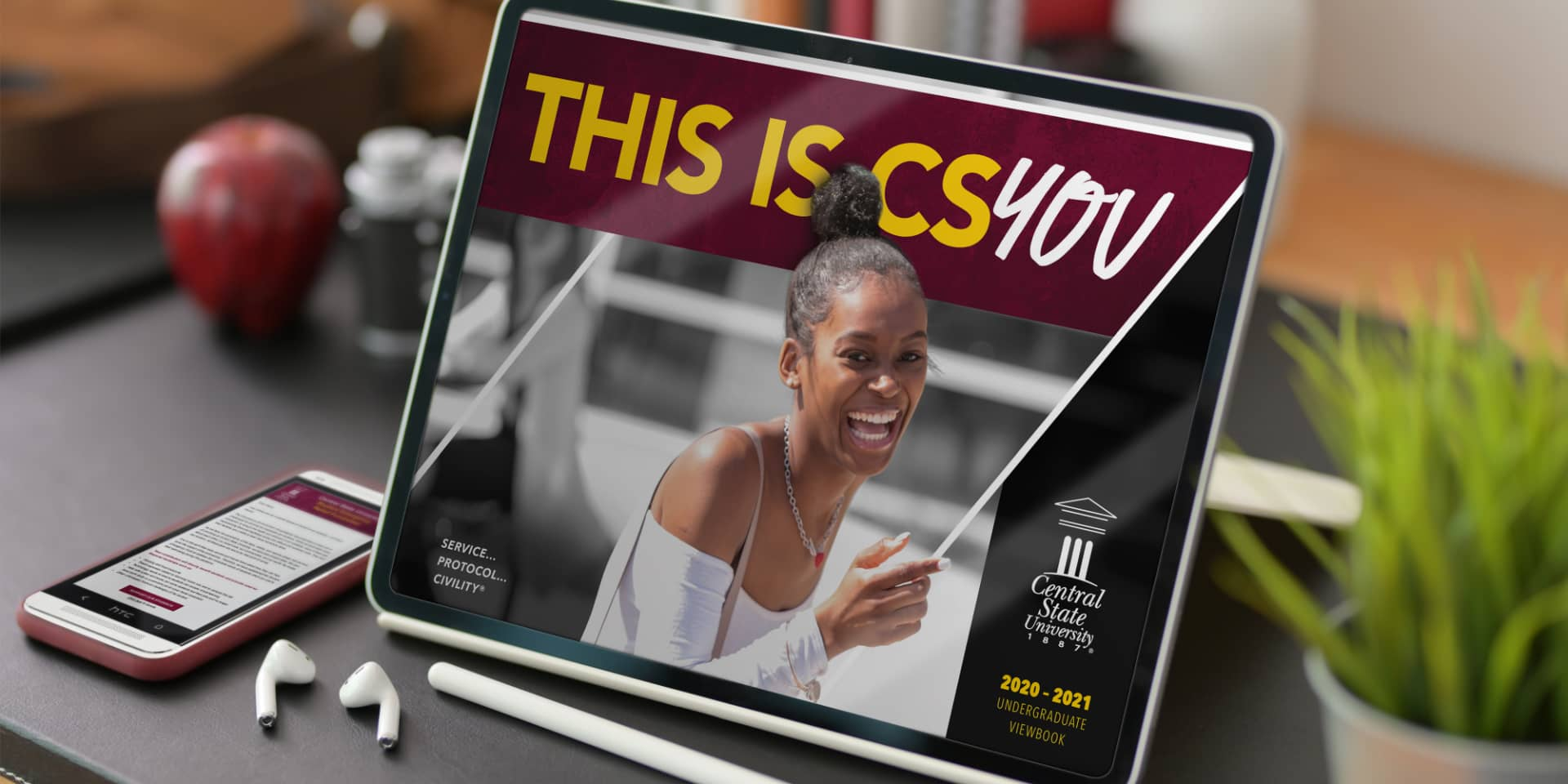 Central State University image on tablet