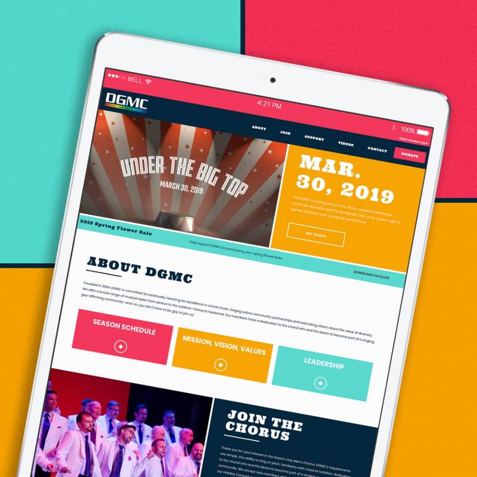 Dayton Gay Men's Chorus tablet website screenshot