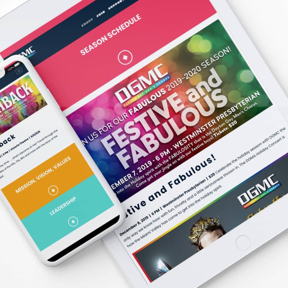 Dayton Gay Men's Chorus mobile web screenshots