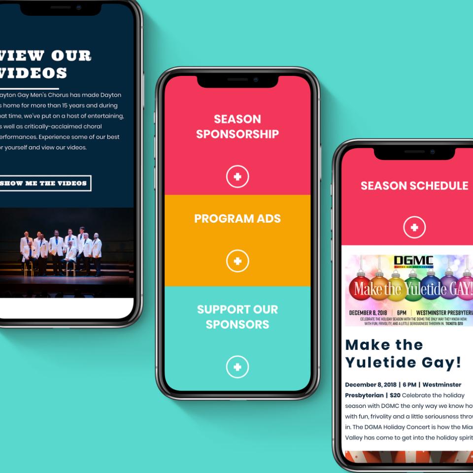 Screenshots of Dayton Gay Men's Chorus website
