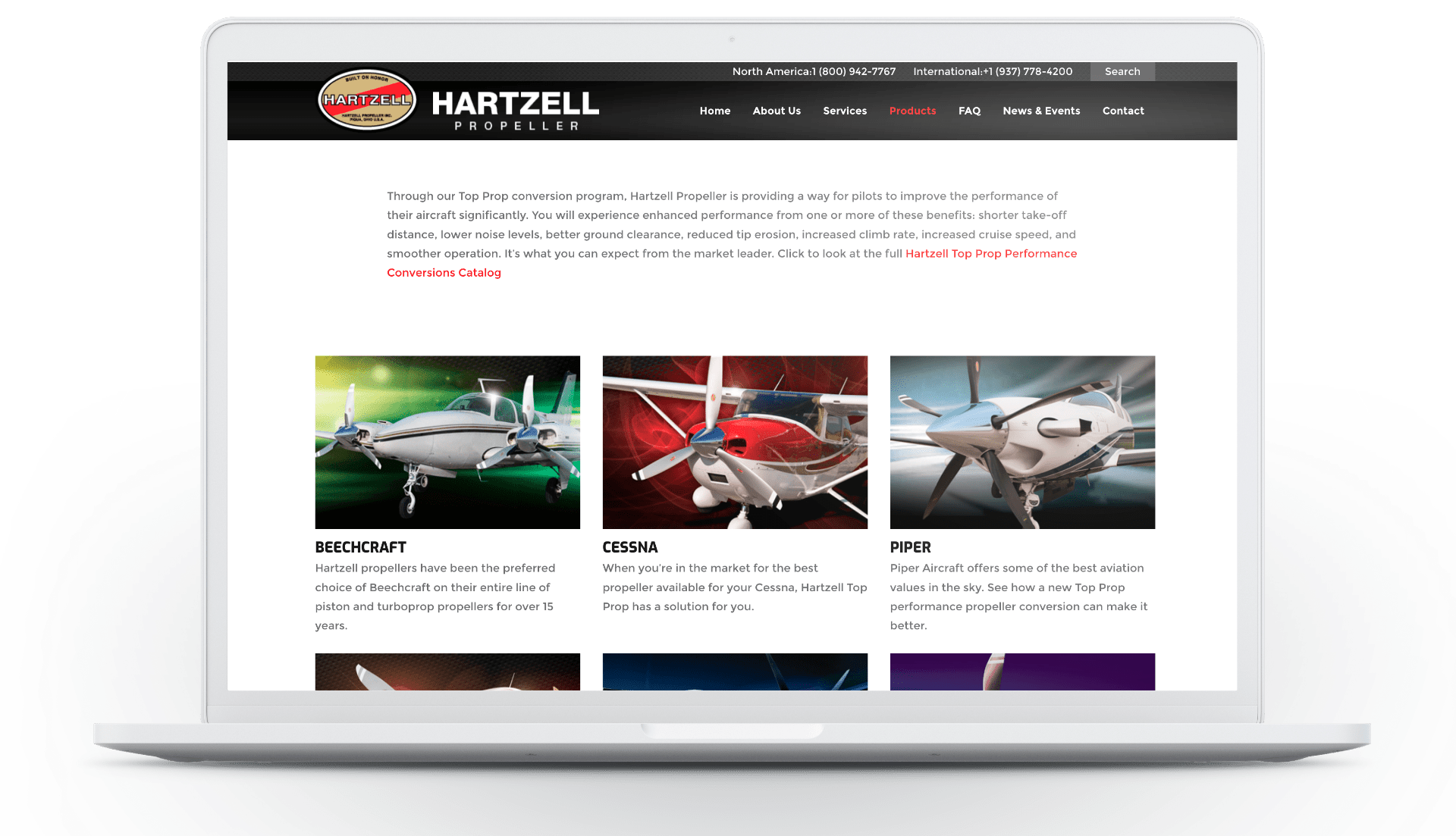Screenshot of Hartzell Propeller website