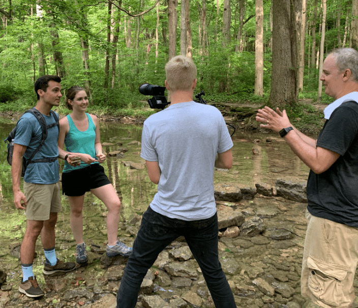 Ohlmann Group video shoot of young couple in woods