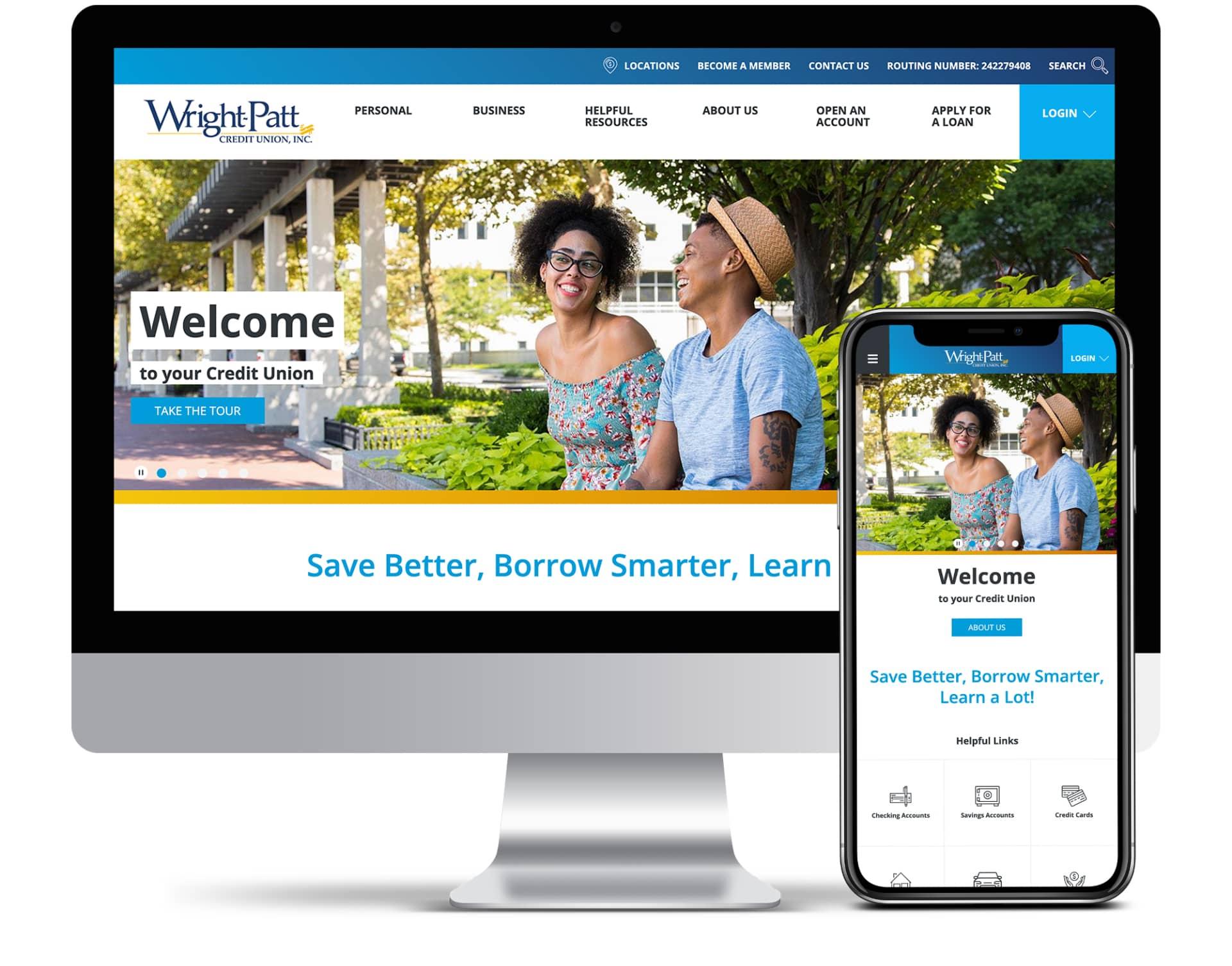 Wright-Patt Credit Union website screenshots