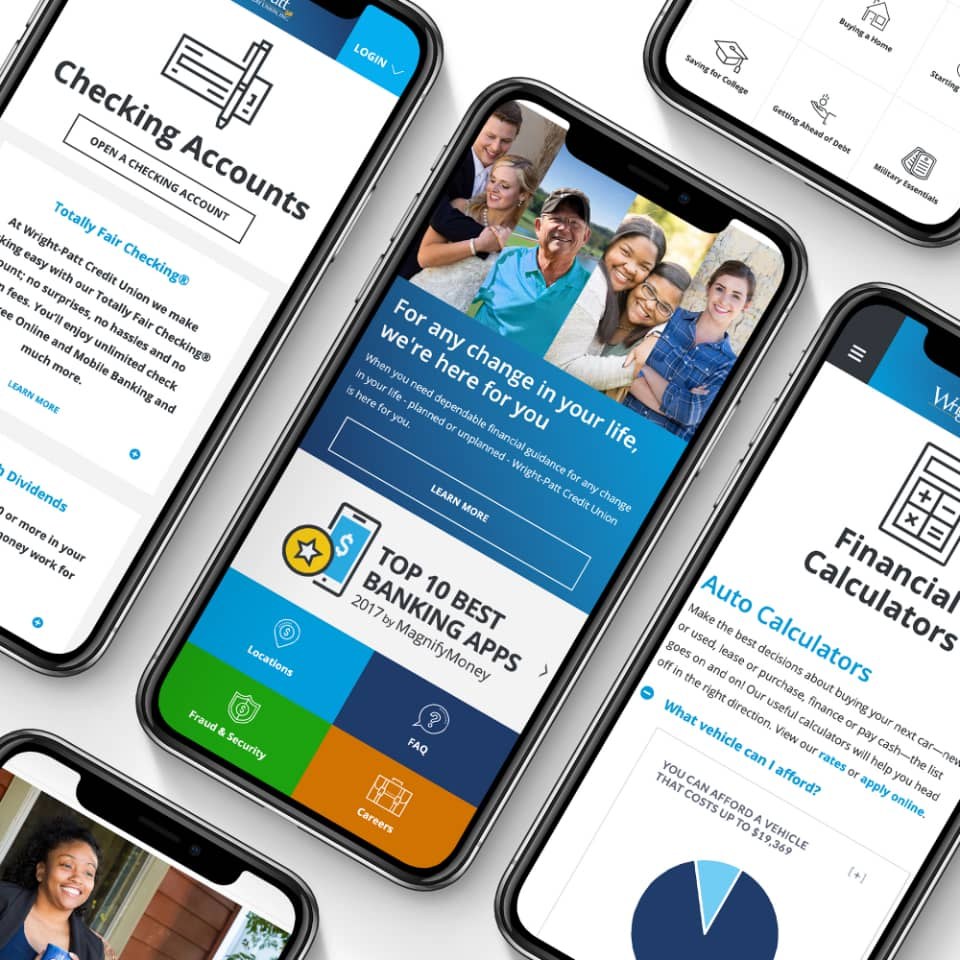 Wright-Patt Credit Union mobile web screenshots