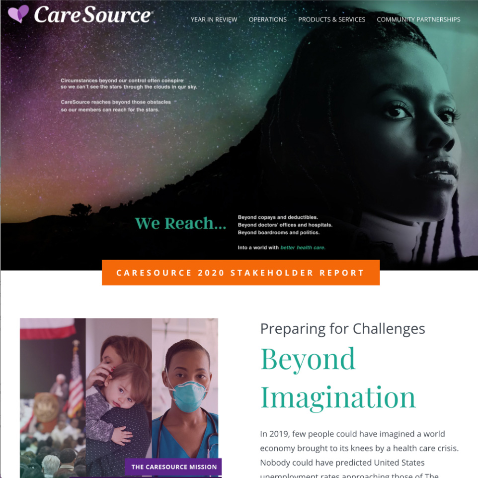 Screenshot from CareSource online stakeholder's report